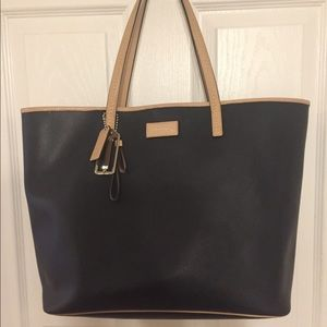 Black Leather Coach Tote with natural accents
